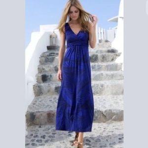 Boden blue tropical maxi dress